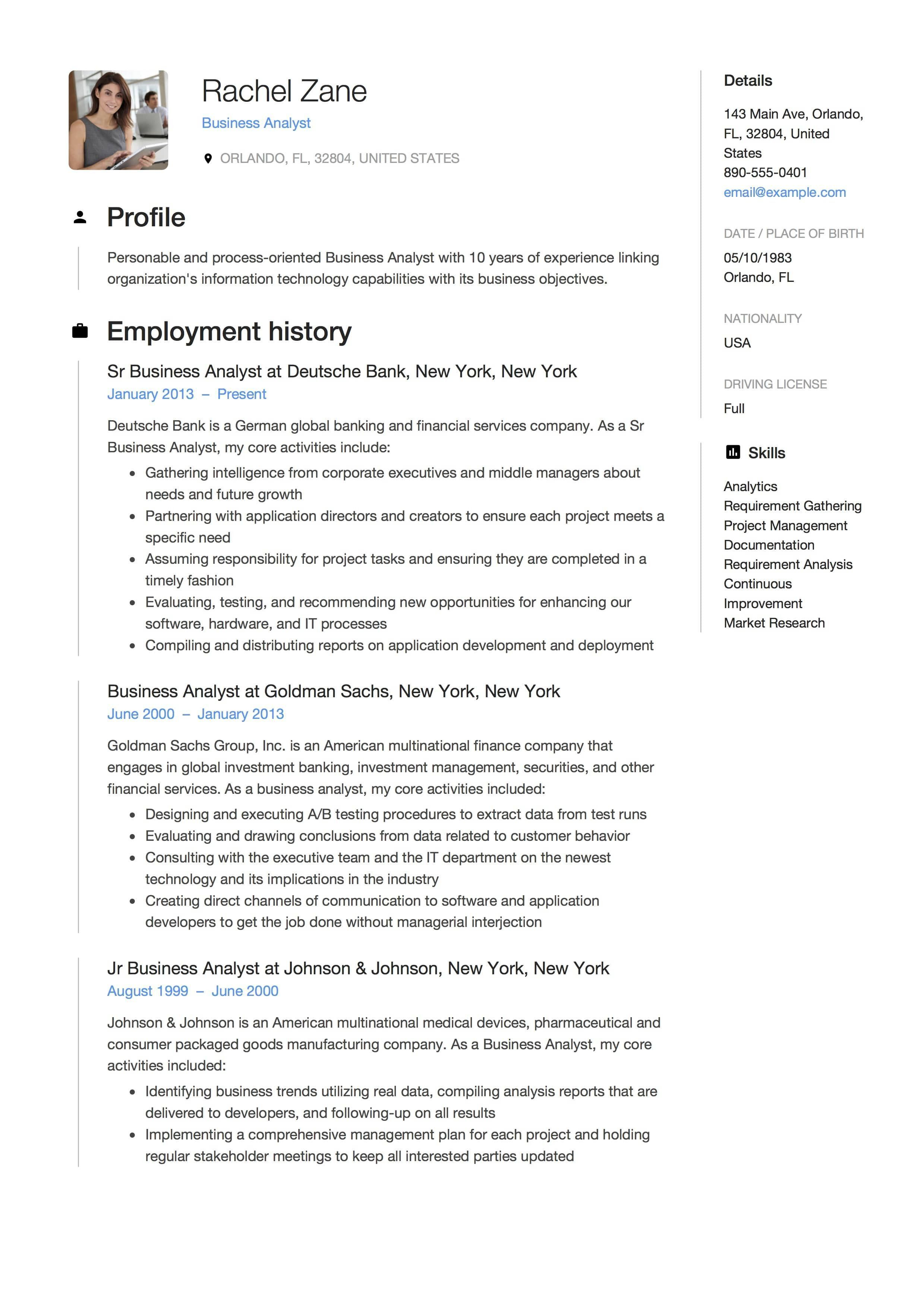 Business Analyst Resume Examples Graceful Full Guide Project