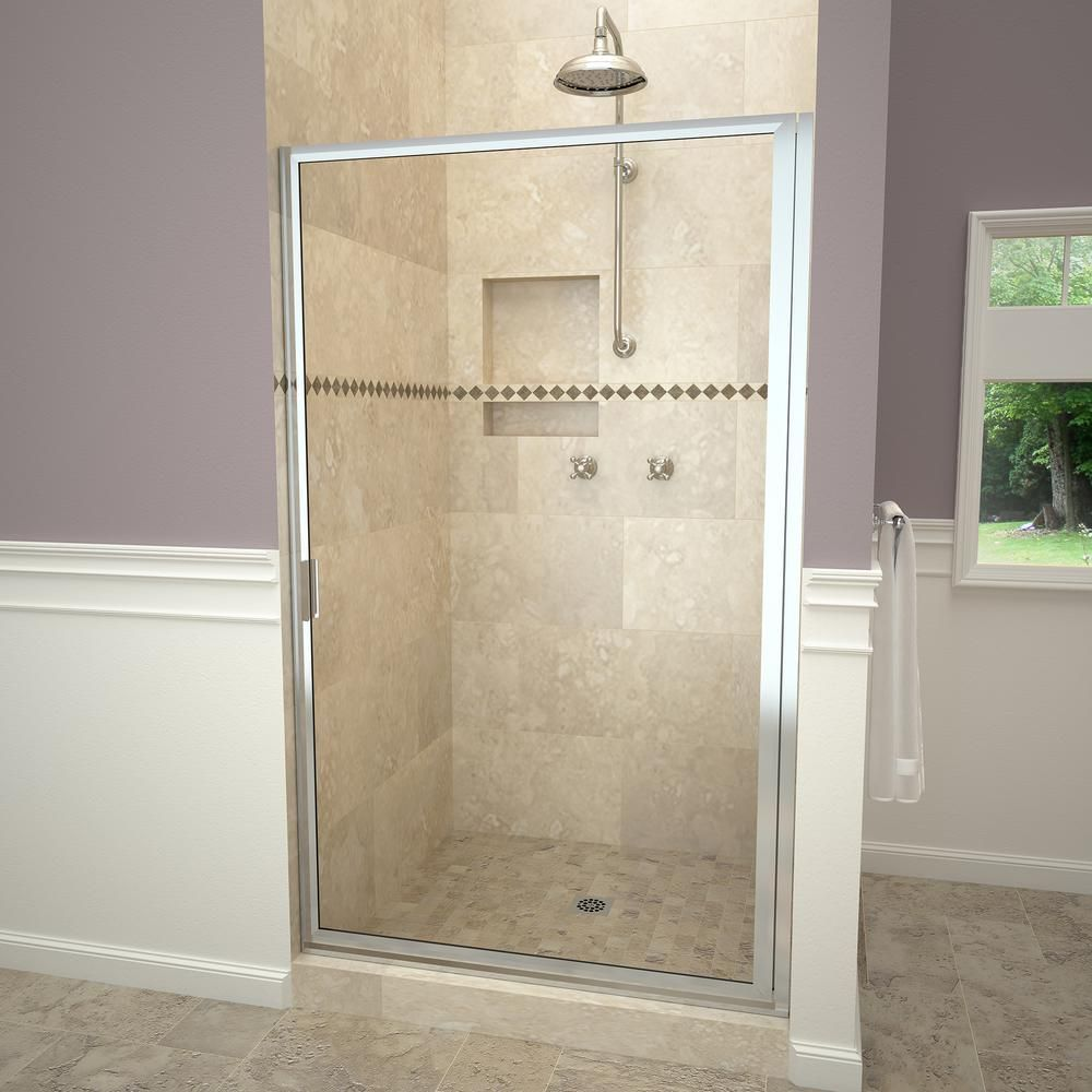 Redi Swing 1100 Series 33 3 4 In W X 67 In H Framed Pivot Shower Door In Polished Chrome With Pull Handle And Clear Glass 11rcpfd03367 Shower Doors Framed Shower Door Tile Redi