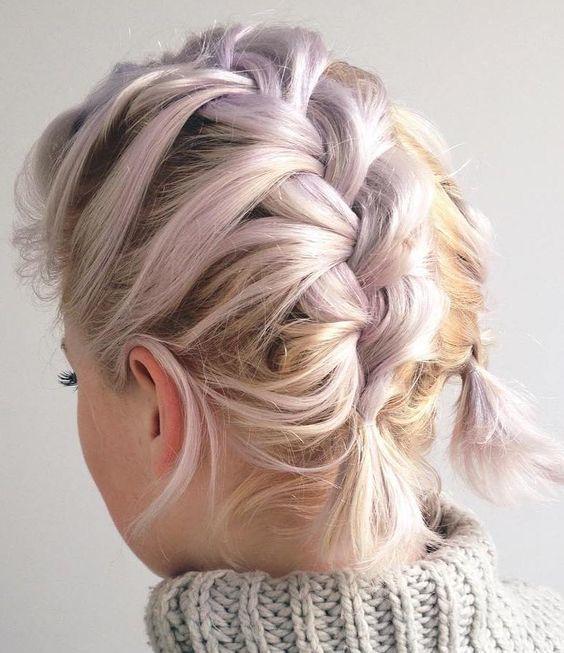 Peinados con trenzas para pelo corto Short hair Hair style and Makeup