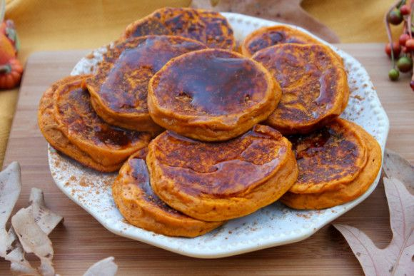 ButternutSquashPancakes (220) 1 cup butternut squash puree (I use frozen) (230g) 1 scoop MTS Caramel Sutra Whey (30g) 1 T egg substitute (15g) 1/2 t vanilla 1/2 t baking powder 1/2 t cinnamon sweetener if desired (1-2 packets)