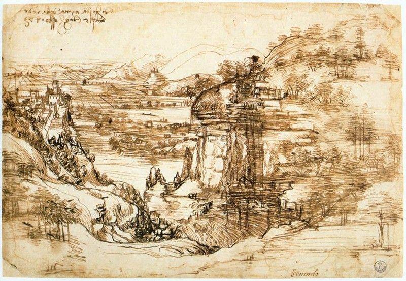Arno Valley Landscape 1473 Leonardo Da Vinci Magarte Historiadelarte Leonardodavinci Dibujo Arthi Paisajes Dibujos Leonardo Da Vinci Arte Renacentista