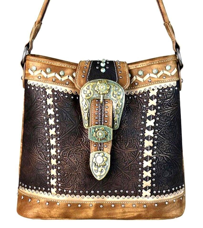 986438523 Montana West~Floral Patina Belt Buckle Hobo Handbag~Tooled~Studs~Conceal  Gun~CF #MontanaWest #Hobo