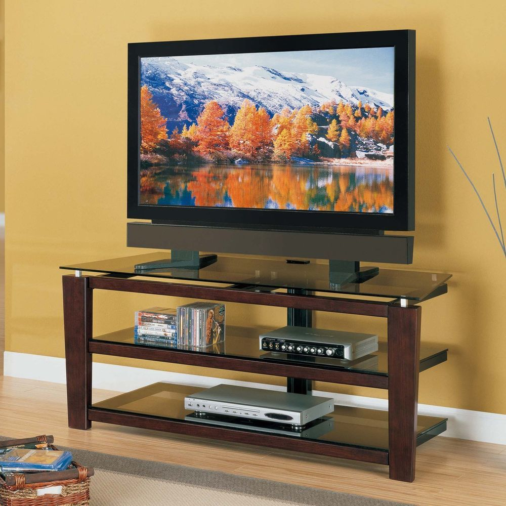 Tv Stand 3 N 1 Mounting Options 3 Open Glass Storage Shelves Swivel