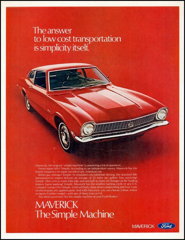 1970 Ford Maverick Car Red 2 Door Hardtop Vintage Photo Print Ad