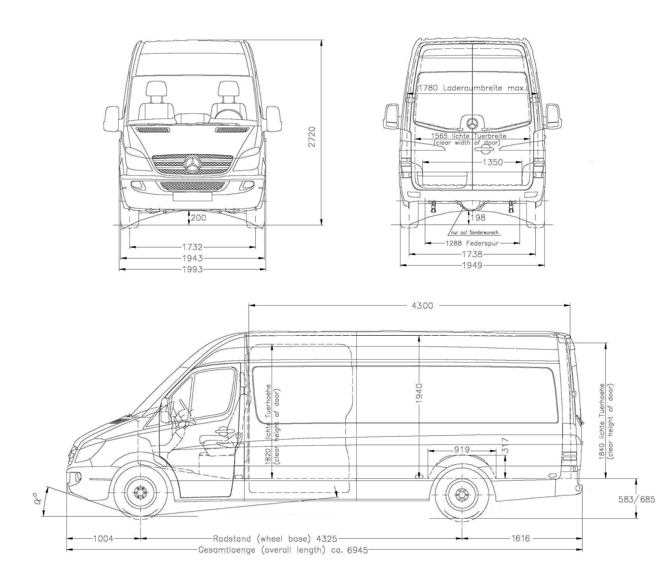 image result for mercedes sprinter mwb high roof dimensions