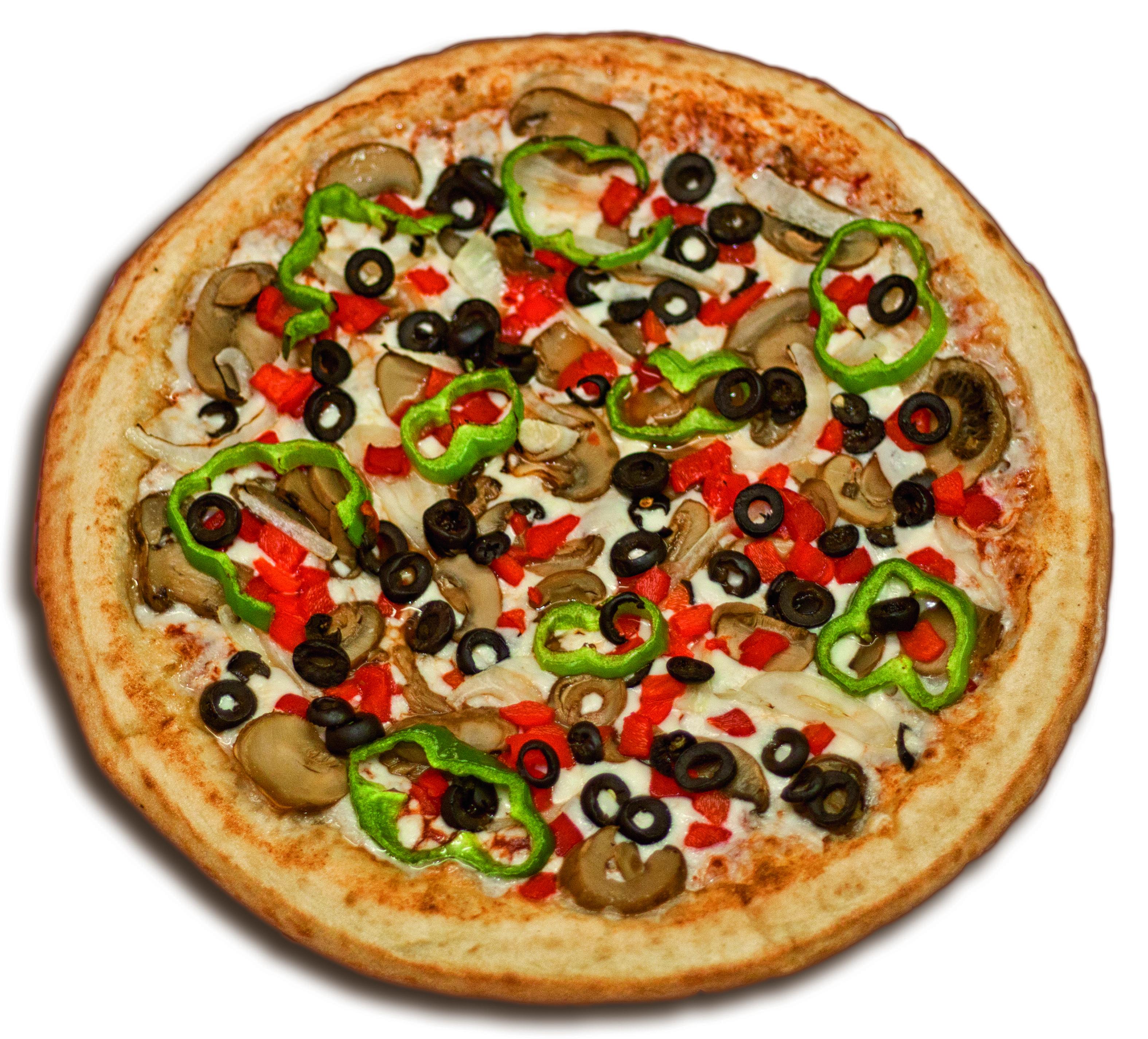Pizza Vegetal Masa fresca, salsa de tomate, mozzarella, aceitunas ...