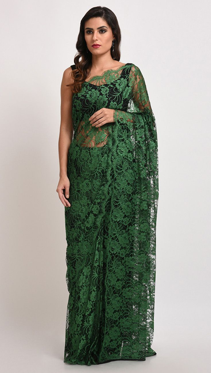 Emerald Green French Chantilly Lace Saree With Satin Crepe Blouse