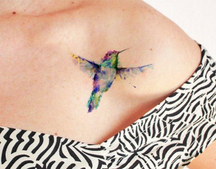 tattoo muster vogel in verschiedensten bunten farben selber malen frau schulter tempor res. Black Bedroom Furniture Sets. Home Design Ideas