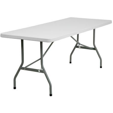 Flash Furniture 30 W X 72 L Granite White Plastic Folding Table