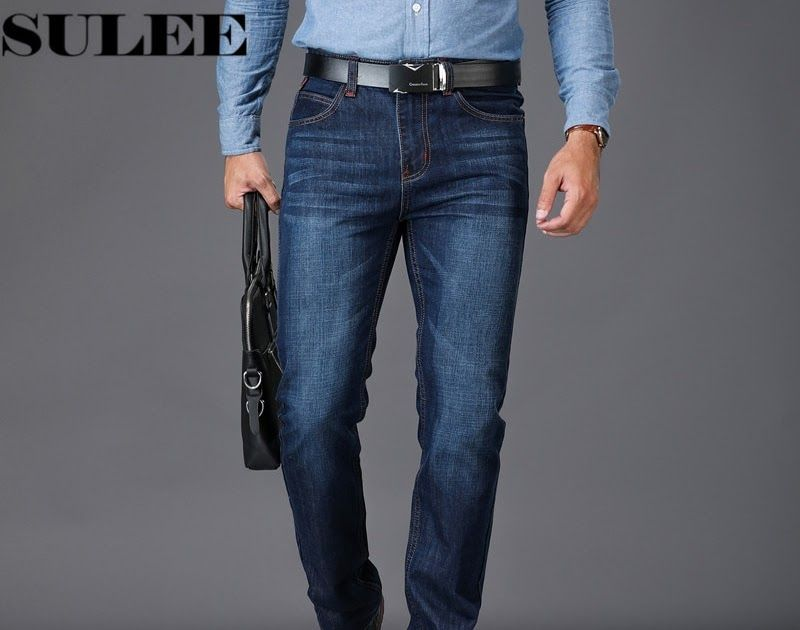 c63b46f1c51 Best Seller SULEE Brand European American Style Stretch Men Jeans Luxury  Men s Denim Trousers Slim Straight Deep blue Gentleman Mens Stretch .