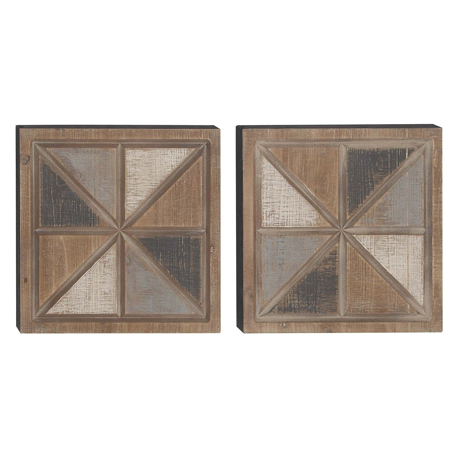 Decmode geometric square wood wall art set of 2 rustic