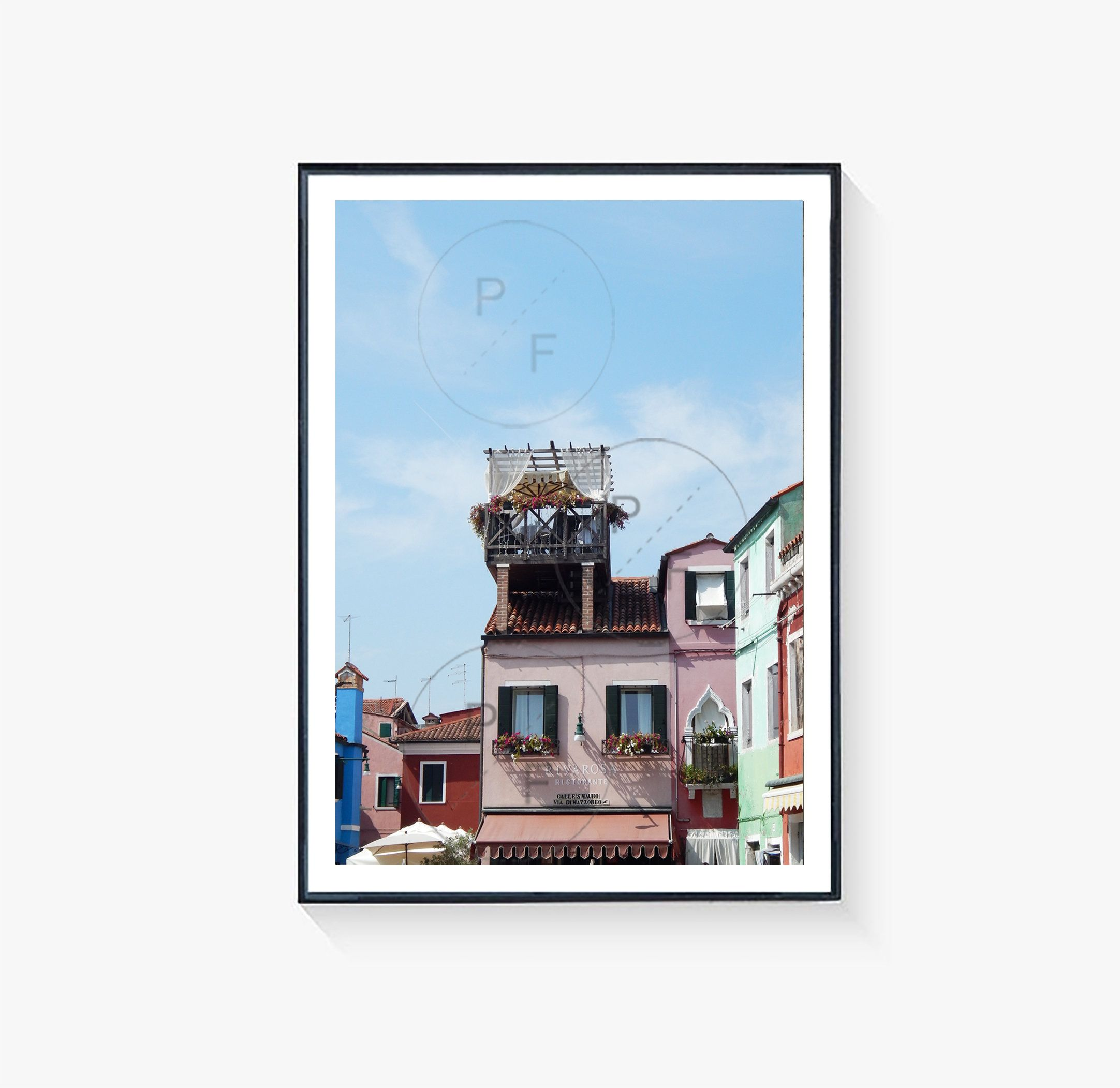 Photo of Burano Venice Italy – 7″x5″ flower rooftop photograph print, home gift