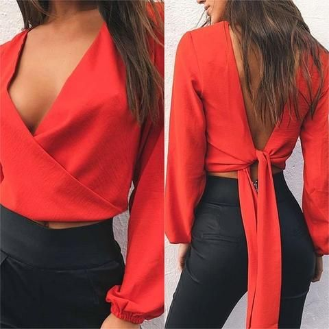9a9ea556aa2d25 2018 Spring Summer White Red Women Blouses Blusa Sexy V neck Backless Bow  Chiffon Blouse Casual Long Sleeve Ladies Tops Shirts