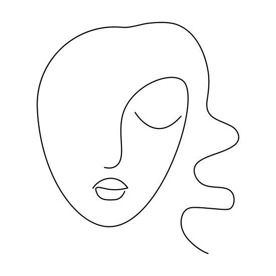 Photo of 'Continuous line, drawing of set faces and hairstyle, fashion concept, woman beauty minimalis…