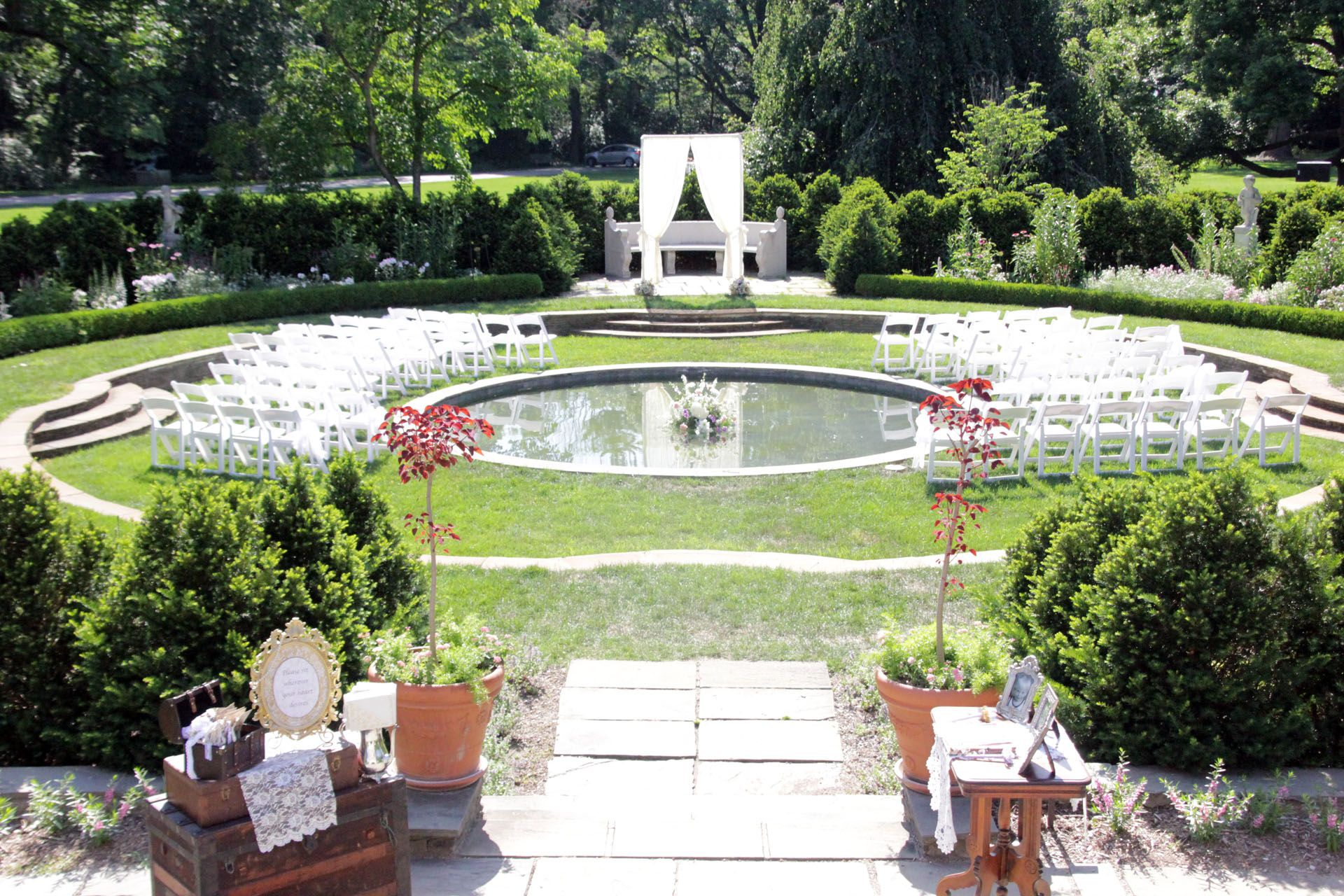 Outdoor Ceremony In The Garden Terrace At Indianapolis Museum Of Art Night Wedding