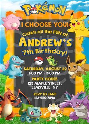 Pokemon Birthday Invitation Pokemon Party Invitations Pokemon Birthday Party Pokemon Birthday