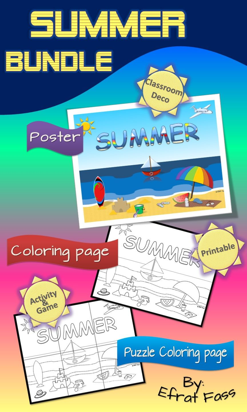 Summer poster and coloring activities   Coloring worksheets ...