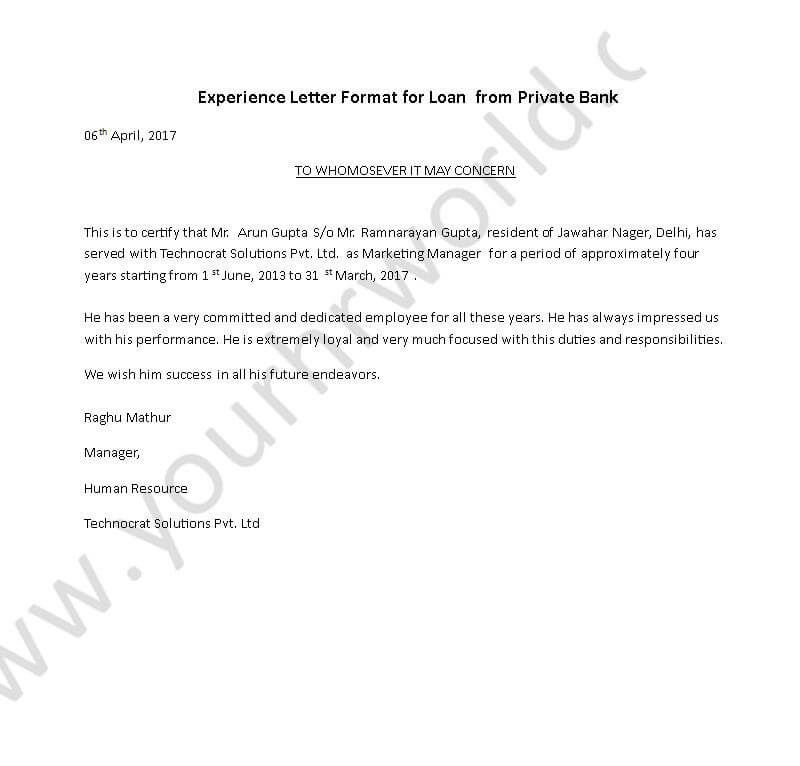 Experience Certificate Letter Format For Loan From Private Bank
