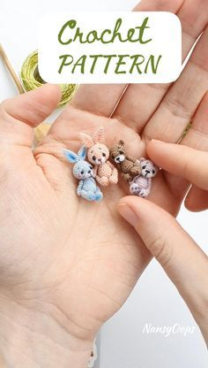 BUNDLE: 2 Crochet patterns bunny & bear micro amig