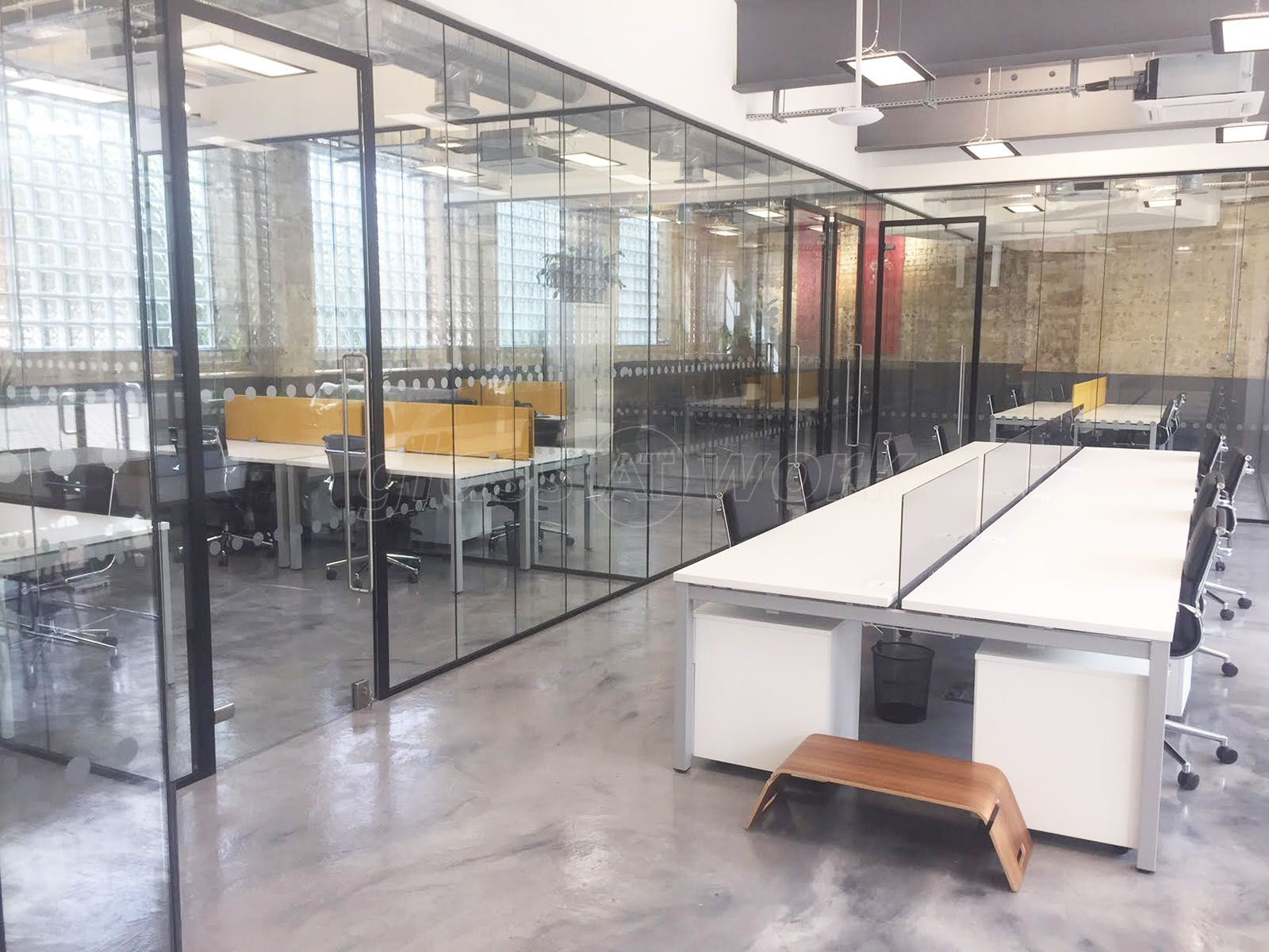 Commercial Glass Office Partition Fit-out (with black track work) for M Squared London Ltd in Dollis Hill, London.