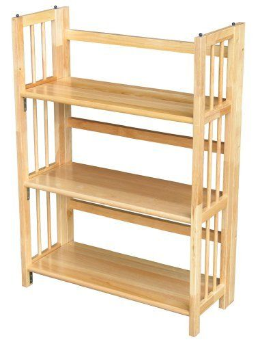 Yu Shan 3 Shelf Folding Stackable Bookcase Natural By 5599 Foldable For Storage Transport Classic Styling Made Of 100 Percent Solid Wood