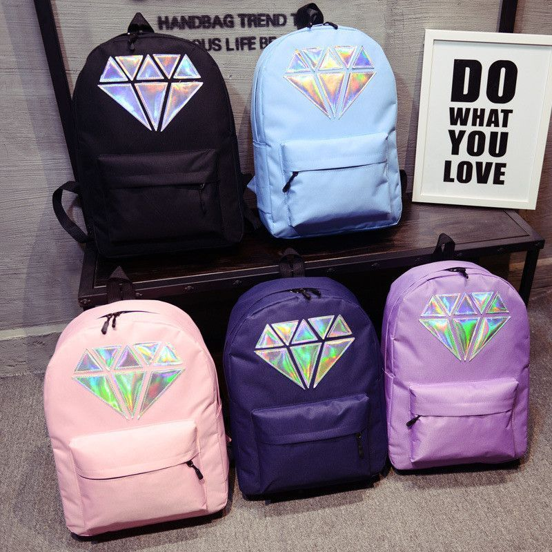Women Canvas Backpack School Bags Holographic Silver Diamond Solid ...