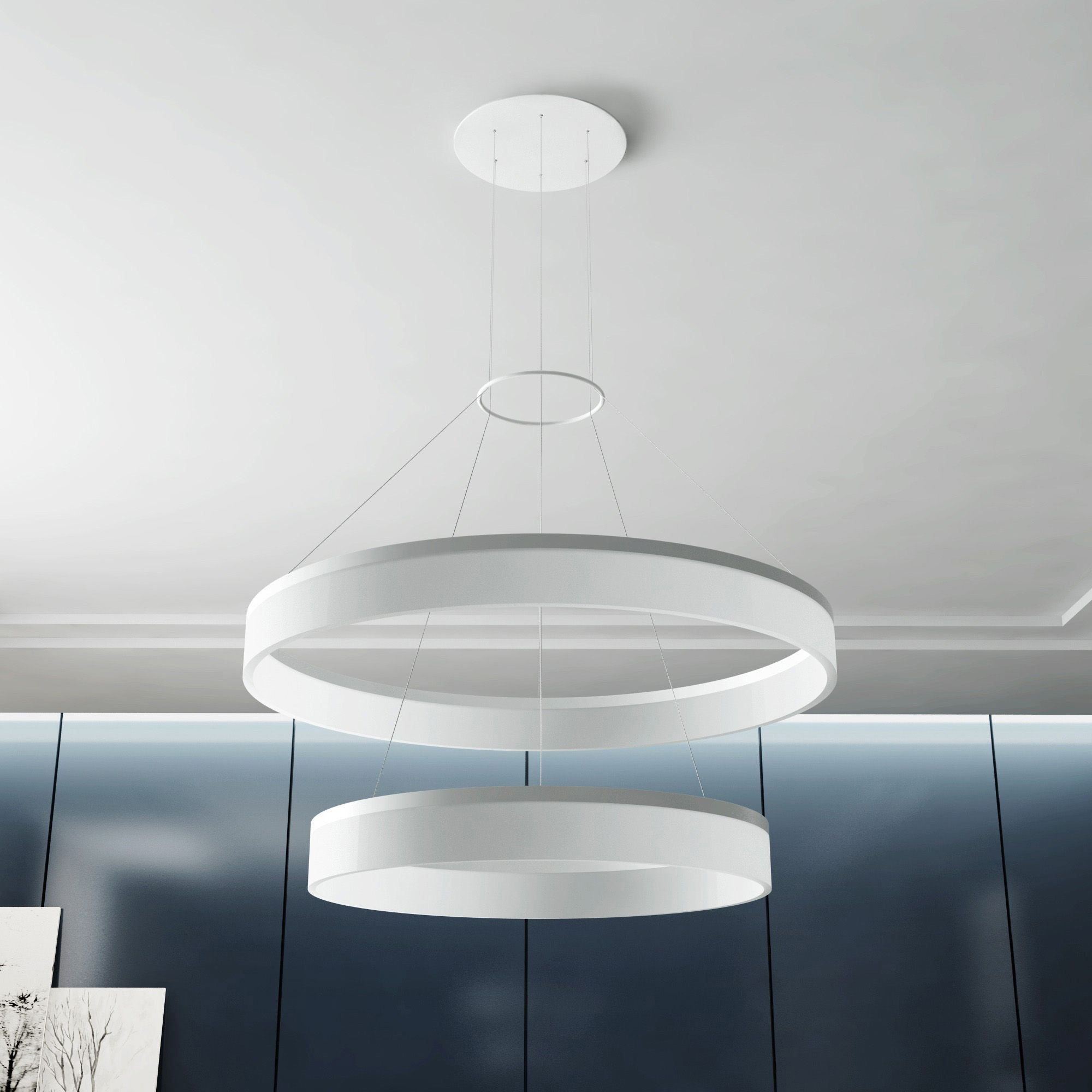 Vonn lighting tania duo 23 inch led two tier satin nickel orbicular lights arubaitofo Gallery