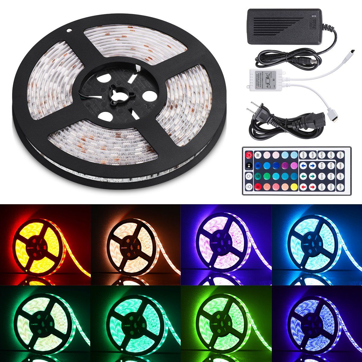 Sunnest Led Light Strip Waterproof 16 4ft Smd 5050 300leds 12v Dc Flexible Light Strips Led Tape Rgb Led Str Led Strip Lighting Strip Lighting Led Light Strips