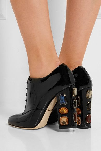 Dolce & Gabbana Crystal-Embellished Patent Leather Booties best sale cheap price cheap best HDBQS4OAq