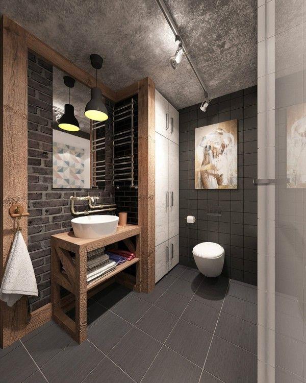 Apartment Bathroom Ideas: 4 Small & Beautiful Apartments Under 50 Square Meters Open-industrial-bathroom-design