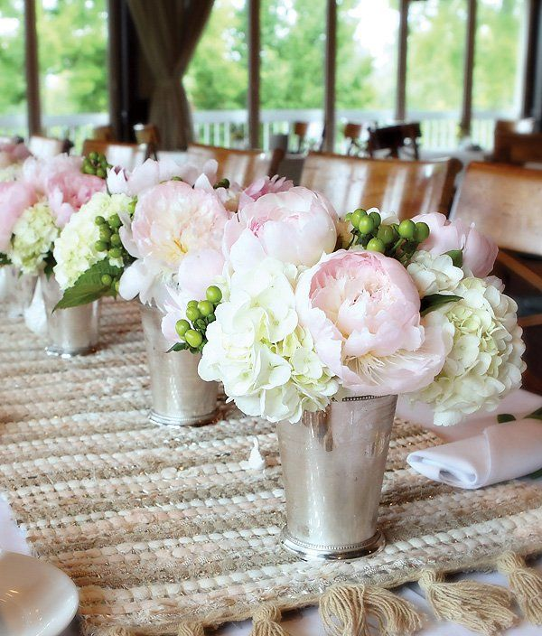 362ddfc678df peonies and hydrangeas inside mint julep vases for the centerpiece at a romantic  bridal shower