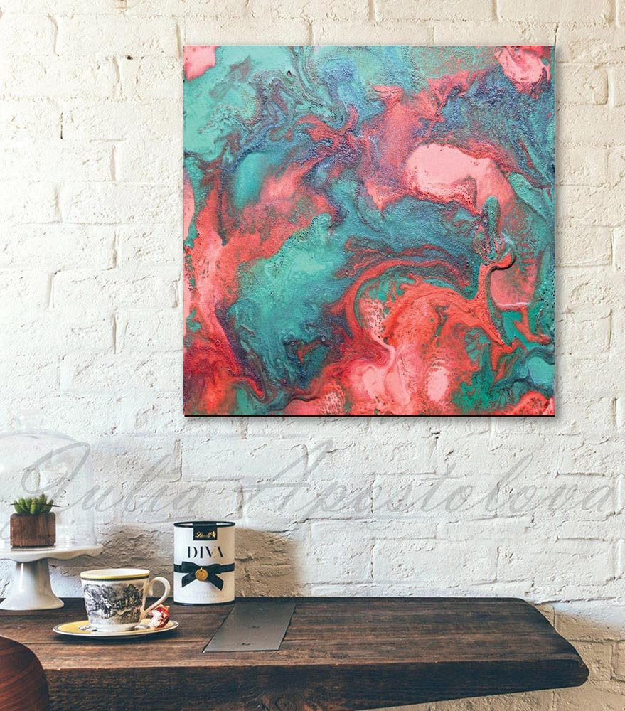 Red coral painting popular red coral print buy cheap red coral print - 45inch Turquoise And Coral Abstract Print Large Wall Art Painting Abstract Art Prints Coral Abstract Art Ready To Hang Square Canvas