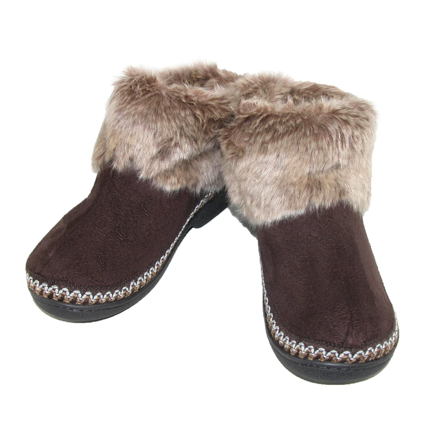 totes ISOTONER Womens Microsuede Woodlands Fur Cuff Boot ...