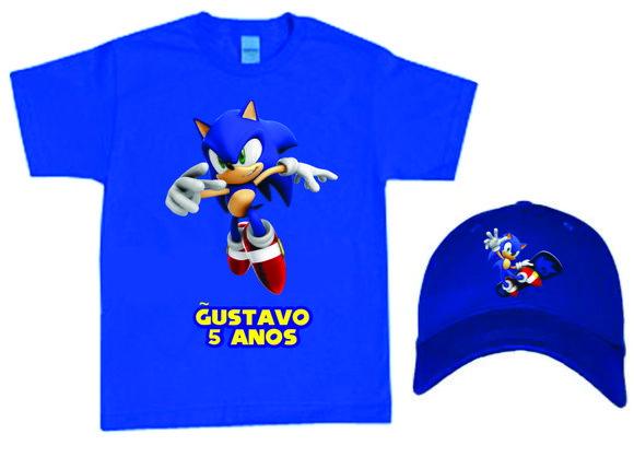 Compre Camiseta e Boné do Sonic no Elo7 por R  54 8b826c8ba5e