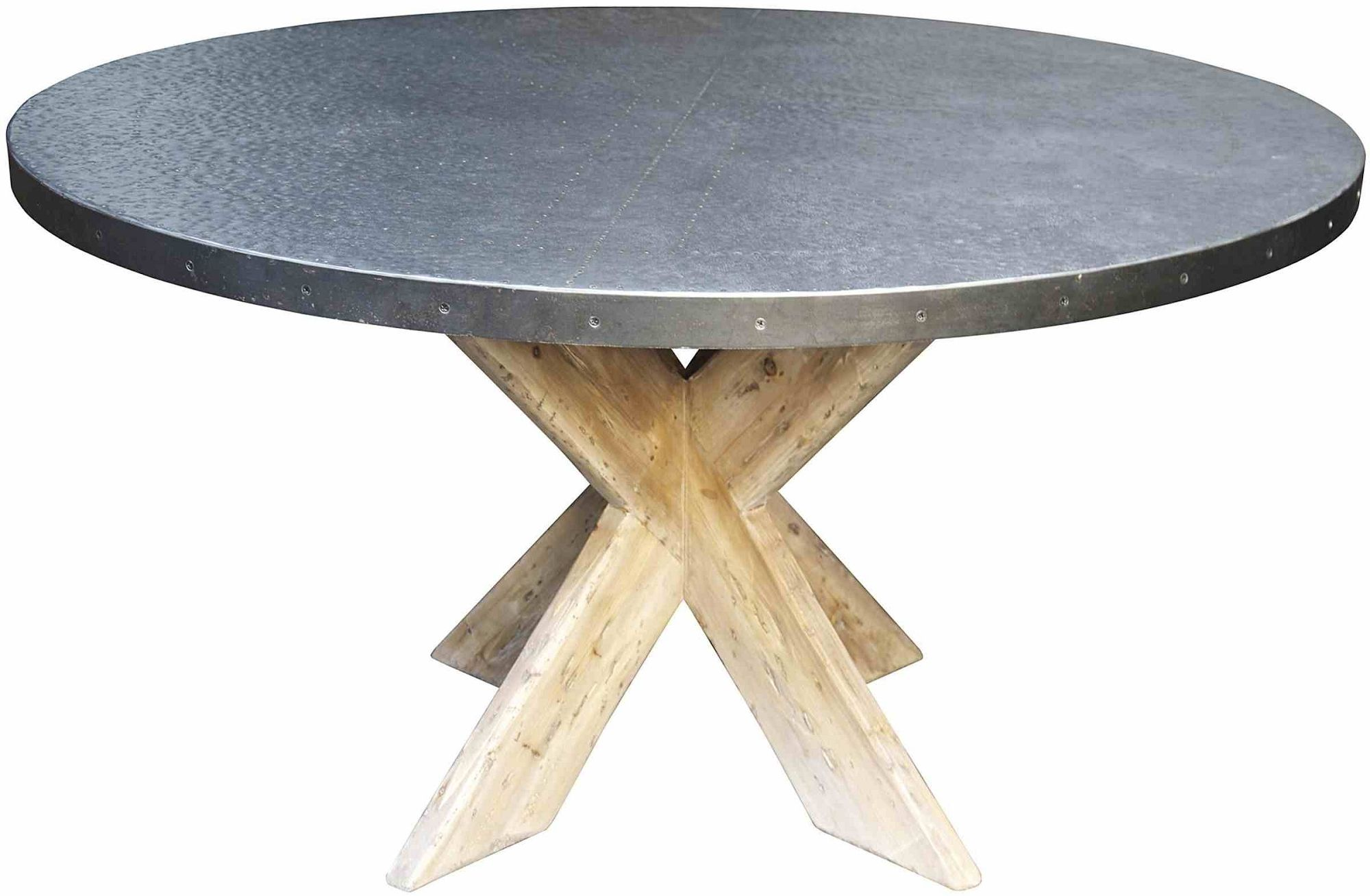 Exceptional Hayward Zinc Top Round Dining Table With X Base