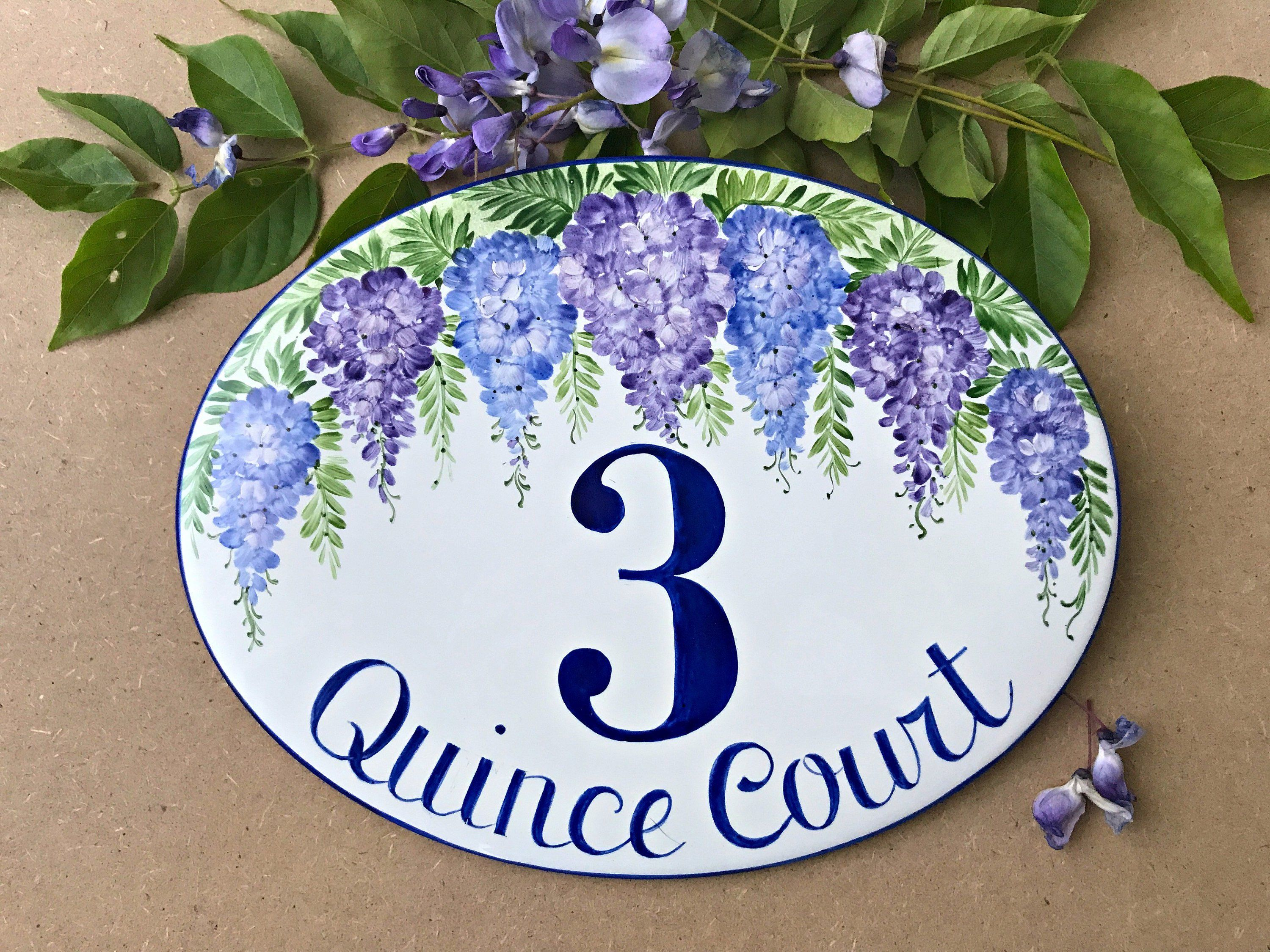 Wisteria custom house number plaque personalized address sign for