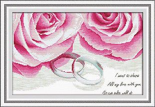 Wedding Rings & Roses in Love - New 11 counted cross stitch kit