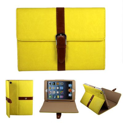 """Button Belt PU Leather Case Cover w Stand for iPad Mini 7 9"""" Tablet Gift Yellow 