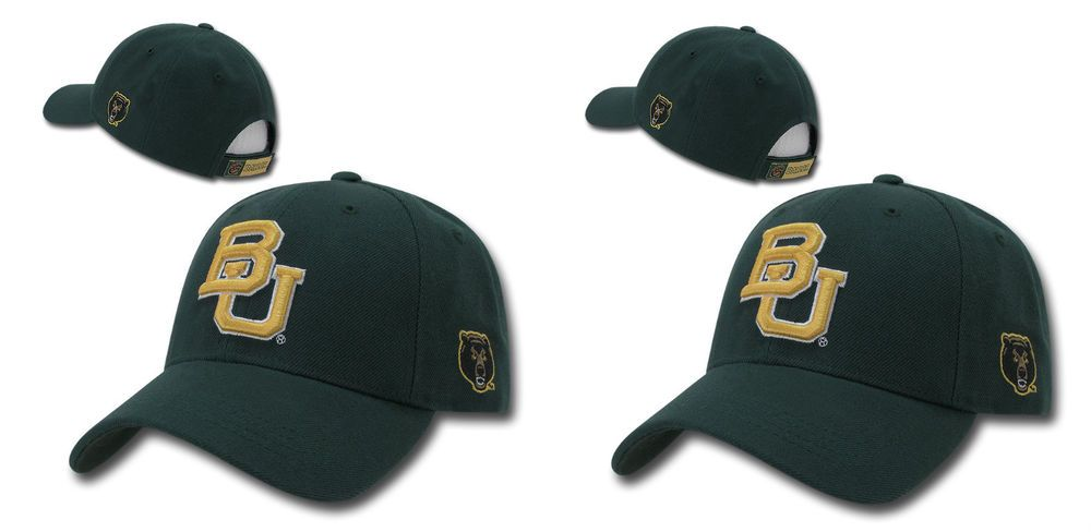 Green Baylor University BU Bears NCAA College Low Crown Curved Baseball Cap Hat