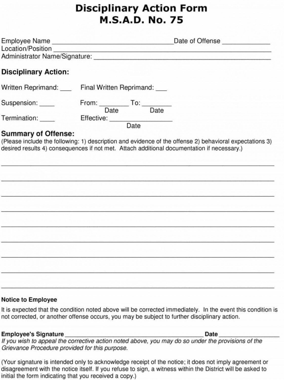 Employee Write Up Form Free Printable Disciplinary Forms In Book Report Template In Spanish Book Report Templates Book Report Report Template