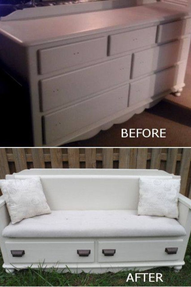 Repurposed Dresser Into A Couch This Will Look Great With The Chair I M Wanting To Do Home Diy Repurposed Furniture Furniture Diy