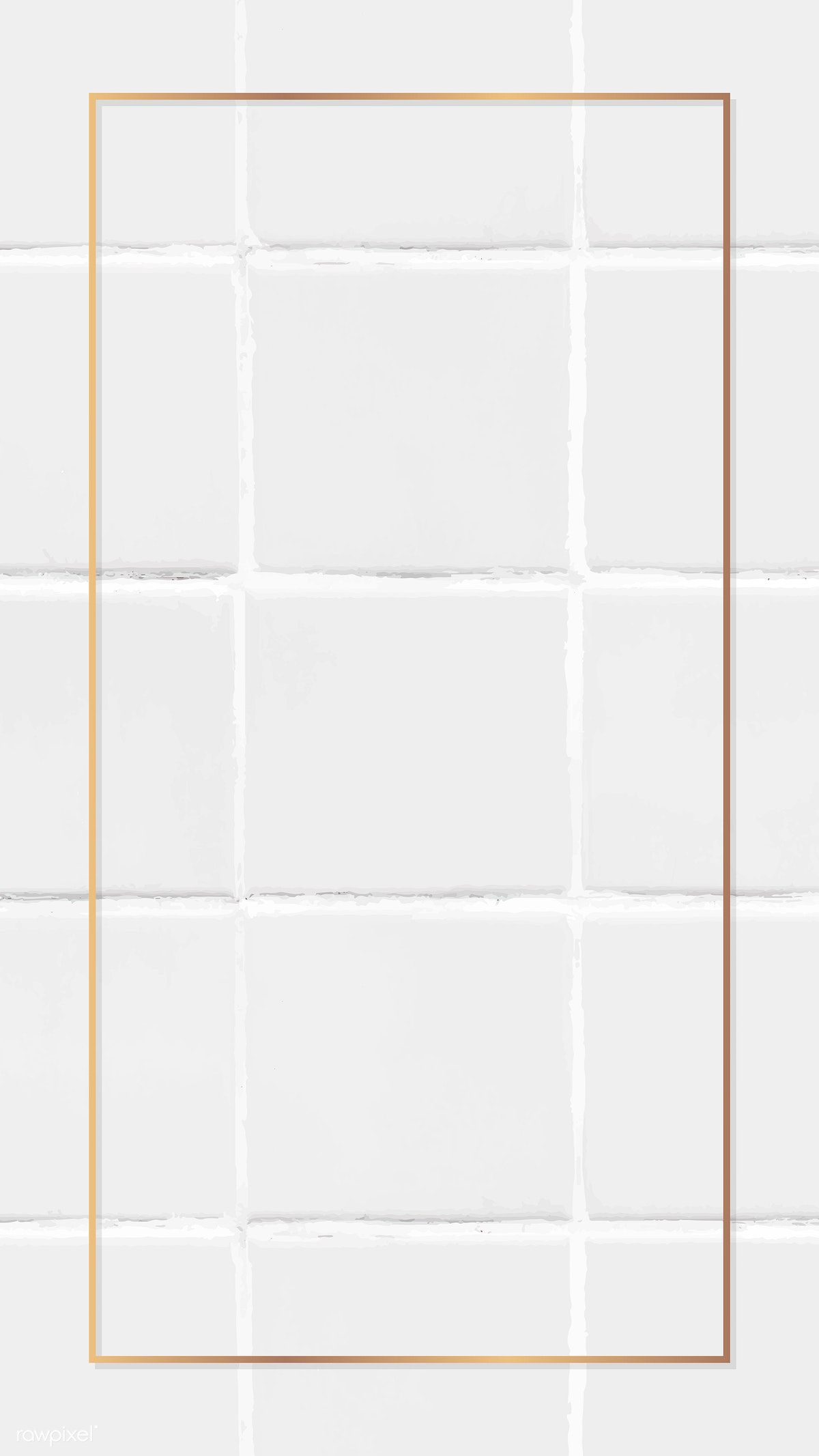 Download Premium Vector Of Rectangle Gold Frame On White Tile Mobile Gold Frame White Tiles Background Tile