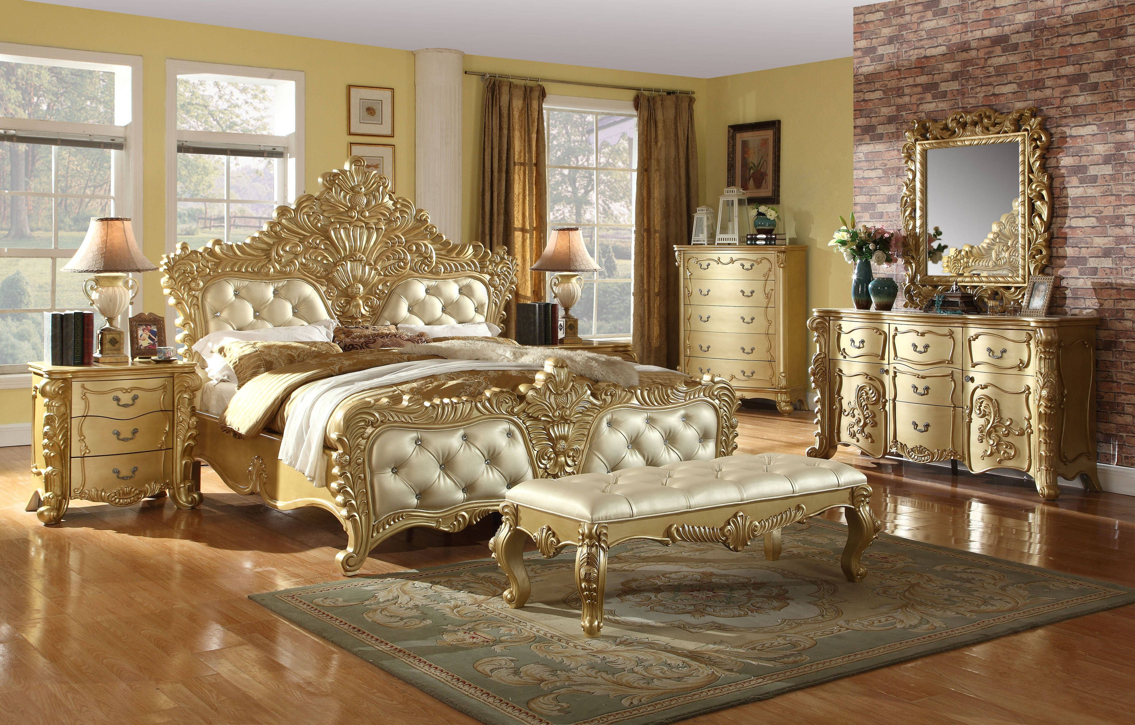 Meridian Furniture Zelda Rich Gold Bench Meridian Furniture