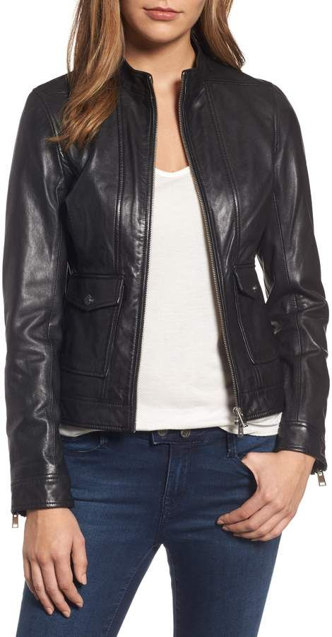 5ce78e0db7f0de LAMARQUE Patch Pocket Leather Biker Jacket   Products   Jackets ...