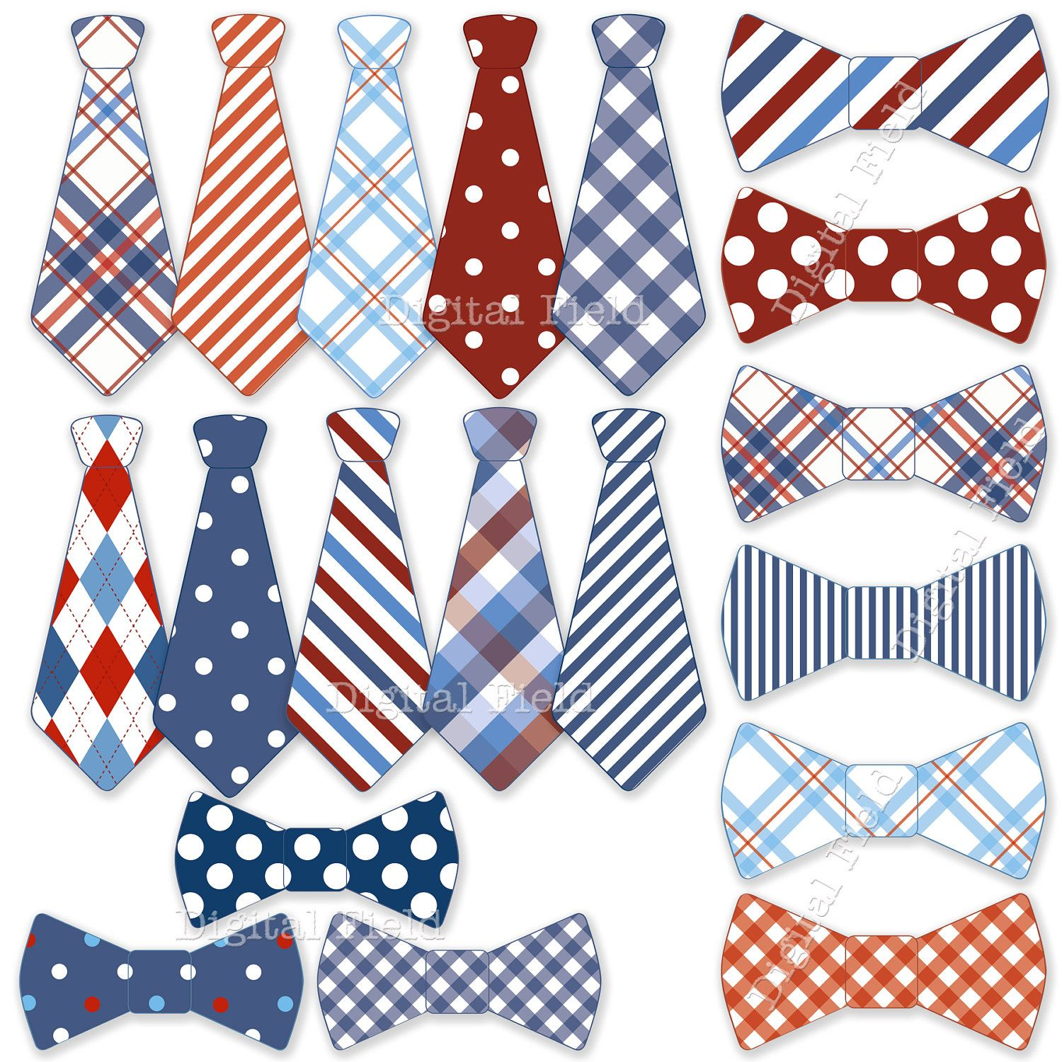 b775f7f35dc1 INSTANT DOWNLOAD Necktie and Tie Bow clip art set - blue white red  printable digital clipart. $3.50, via Etsy.