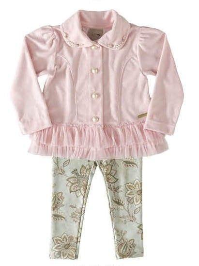 Sua loja infantil online! Conjunto de casaco de plush com legging estampada  2842 6bd80f79541