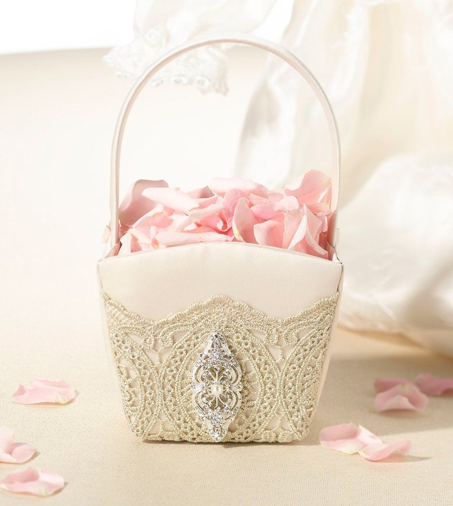 Gold Lace Flower Girl Basket | Flower girl basket, Gold lace and ...