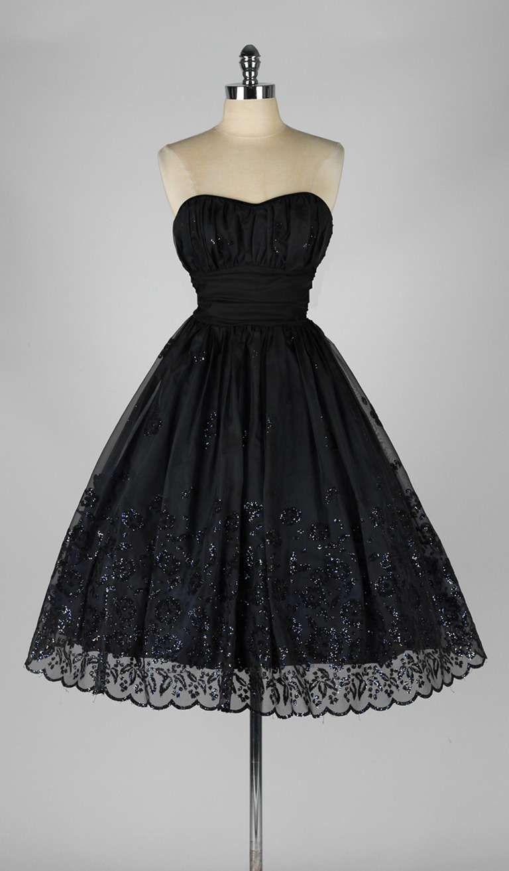 Vintage 1950 S Black Chiffon Glitter Flocked Dress 1stdibs Com Vintage 1950s Dresses Vintage Dresses Dresses [ 1313 x 768 Pixel ]