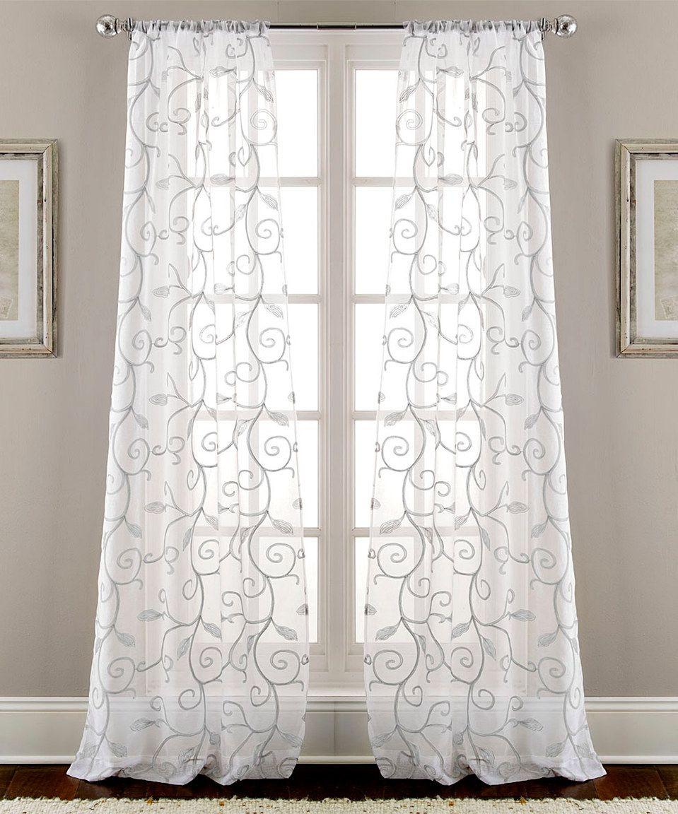 This Gray Leaf Swirl Sheer Curtain Panel Set Of Two By Colonial