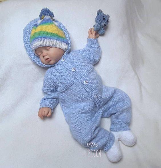 Photo of Baby gestrickter blauer Overall Gestrickte Babykleidung Baby gestrickt  #babykle…